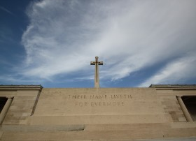 Stunning skies over the Stone of Remembrance at Pozieres Cemetery.